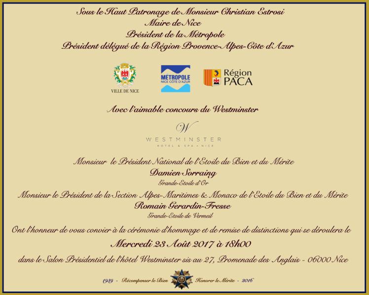 Invitation protocolaire cérémonie du 23 Août 2017